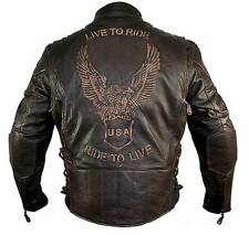 Men's Retro Brown Premium Buffalo Distressed Leather Embossed  Biker Jacket