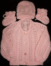 SZ 000 PINK 3 piece BABY SET HAND KNITTED BRAND NEW