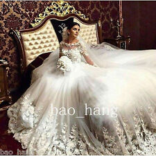 Cathedral Train Lace Appliques Wedding Dress Long Sleeve White Ivory Bridal Gown
