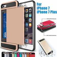 Hybrid Card Pocket Wallet Shockproof Armor Case Cover For Apple iPhone 7/7Plus