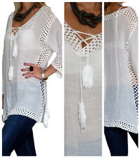 Ladies Top Tunic Kaftan Womens Crochet Beach Cover up Tops Size 8 10 12 14