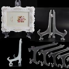 "Plastic Clear Display Easel Stand Plate Bowl Frame Photo Pedestal Holder 3""4""5"""