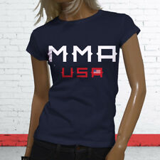 MMA Mixed Martial Arts Team USA Cage Fighting Art Womens Navy T-Shirt