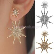 1 Pair Women Gold Silver Crystal Dangle Tone Earrings Star Ear Stud Earrings