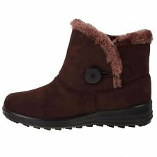 LADIES TRUEFORM BROWN WARM SNUG FUR LINED ANKLE WEDGE BOOTS,SIZE 3-8 TLB962