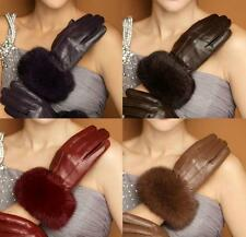 Women Genuine Leather Warm Winter Rabbit Fur Touch Screen Wrist Gloves 3Lines
