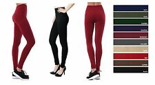 Womens Tummy Tuck HIGH WAISTED FOOTLESS Fleece Lined LEGGING COLORS Tight TX700