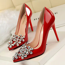 Bling Crystal Flower Buckle Pointed Toe Pumps High Heel Stilettos Women PU Shoes