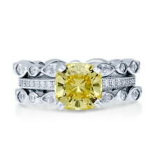 BERRICLE Silver Cushion Canary Yellow CZ Solitaire Engagement Ring Set 3.99 CTW