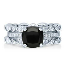 BERRICLE Sterling Silver Cushion Cut Black CZ Solitaire Stackable Ring Set