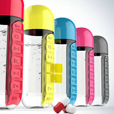 Plastic Combine 7Daily Week Pill Box Case Organizer With 600ML Water Bottle Cup