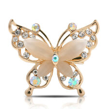 Gold/Silver Butterfly Fashion Jewelry Women Crystal Rhinestone Plated Brooch Pin