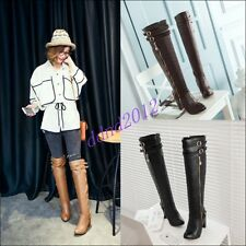 Womens Ladies New Low Heels Shoes Belt Buckle Knee High Riding Boots Size