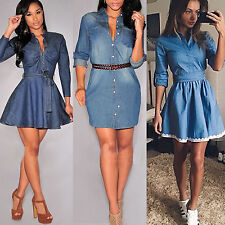 Womens Casual Party Short Mini Dress Denim Jean Long Sleeve Full Shirt Dresses