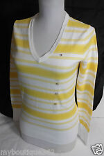 TOMMY HILFIGER WOMENS V NECK YELLOW/WHITE  SWEATER  WITH FLAG NWT XSMALL