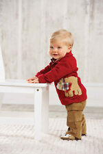 Mud Pie Baby BEAR POLO AND PANT SET 352601 Christmas Santa's Workshop Collection