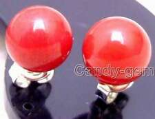SALE small Red 7-8MM Round natural Coral earring & silver S925 stud-ear413