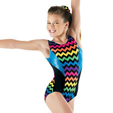 NEW Rainbow Chevron Black Peacock Blue Foil Dance Gymnastics Leotard Child Adult