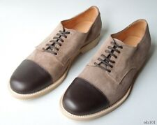 NIB $495 mens FACONNABLE brown suede leather cap toe oxfords dress shoes Italy