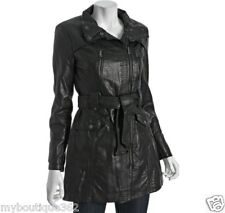 KENNETH COLE REACTION BLACK FAUX LEATHER COAT NEW WITH TAG