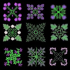 Anemone Quilt Squares 6 Machine Embroidery Designs CD- 36 Anemone Designs