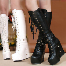 Hot Womens Punk Goth Knight Knee High Boots Wedge Platform Rivet Lace Up shoes