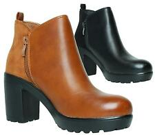 WOMENS LADIES CHUNKY BLOCK HIGH HEEL PLATFORM ZIP UP ANKLE BOOTS SHOES SIZE