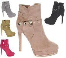 WOMENS FAUX SUEDE HIGH HEEL PLATFORM ZIP ANKLE BUCKLE ANKLE BOOTS