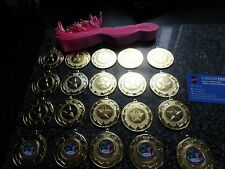 JOBLOT OF 20 - DANCE  -  MEDALS WITH PINK RIBBONS - RIBBONS