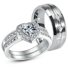 3 Pcs Her .925 Sterling Silver His Tungsten CZ Matching Wedding Ring Band Set