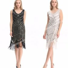 1920s Gatsby Look Vintage Flapper Swing Fringe Cocktail Evening Party Dress 4-20