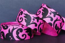 "25Yd Wholesale Black Swirl Pattern 7/8"" Hot Pink Grosgrain Ribbon FreeShip"