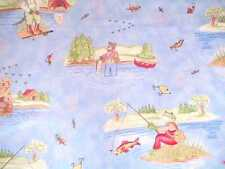 LAST PIECE ADORABLE Kelly Rightsell Blue Fly Fishing Decorator Toile Fabric