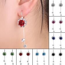 Fashion Rose Flower Dangle Earrings Crystal Women Party Xmas Jewelry 1Pair Gifts