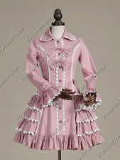 Victorian Sweet Lolita Doll Ladies Trench Coat Dress Cotton Cosplay Theater C019