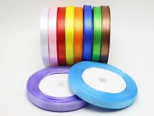 """50 Yards 10mm (3/8"""") Satin Ribbon Gift Bow Wedding Craft Pick Your Color"""