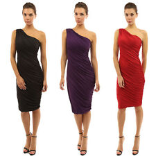 New Women Sexy One Shoulder Pleated Slim Cocktail Party Ladies Short Mini Dress