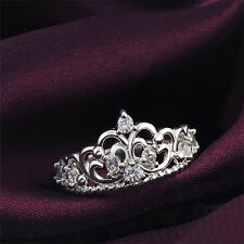 New Women Lady Lovely Princess Queen Crown Rhinestone Plated Ring Wedding Ring