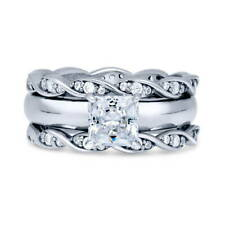 Silver Princess Cubic Zirconia CZ Solitaire Woven Engagement Ring Set 1.79 CT