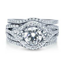 BERRICLE Sterling Silver Round CZ 3-Stone Engagement Ring Set 2.36 Carat
