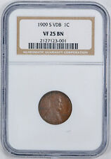 1909-S VDB 1C Lincoln Cent NGC VF 25 Very Fine to Extra Fine