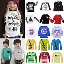 Toddler Kids Long Sleeve T-Shirt Tops Sweatshirt Boys Girls Shirts Tee Pullovers