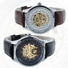 Vintage Leather Automatic Mechanical Wrist Watch Skeleton Steampunk Sports Mens