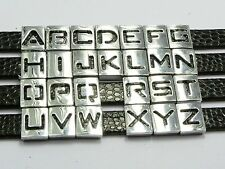 20 Alloy Carved Letter Slide Beads Charm Fit 8mm Wristbands Pick Your Letter