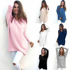 Womens V-Neck Chunky Knitted Oversized Baggy Long Sweater Jumper Tops Outwear