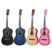 "38"" 6-String Folk Acoustic Guitar for Beginners Kids Students Gift Pink S2U5"