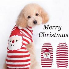 Pet Santa Claus Red and White Striped Cartoon Sweater Dog Clothes Size XXS-XXL