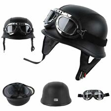DOT German Black Leather Motorcycle Half Face Helmet Biker Pilot Goggles L XL