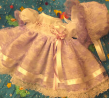 DREAM BABYSPANISH LILAC LACE DRESS & BONNET SET 0 UP TO 2 YEARS OR REBORN DOLLS