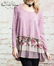 NWT Boutique Easel Floral Ruffled Tunic Top - Pink - Small, Medium & Large